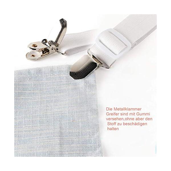 517yUrTngCL Verstellbare Bettlakenspanner, 8 Stück Elastische Bettlakenspanner, Weiß Betttuchspanner, Lakenspanner mit Metallclips…