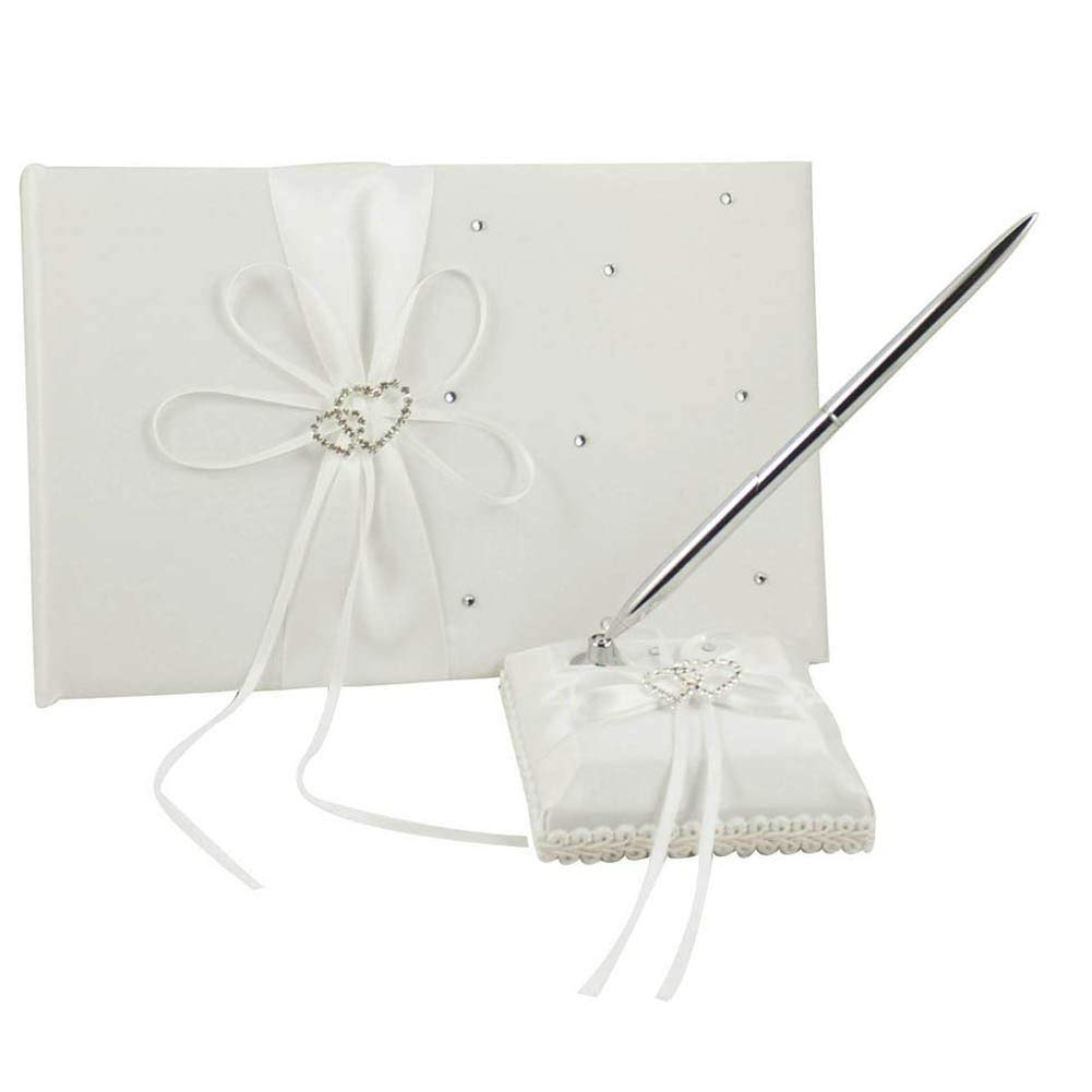 KANECH 2Pcs Set - Ivory Wedding Guest Book and Pen Set - for Birthday, Baby Shower, Party Favor