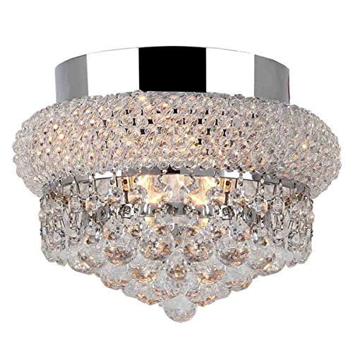 Collection 6 Light Crystal (Worldwide Lighting Empire Collection 3 Light Chrome Finish and Clear Crystal Flush Mount Ceiling Light 8