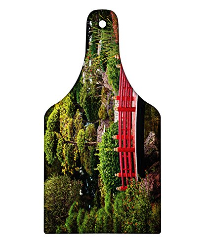 Monte Carlo Wine - Lunarable Japanese Cutting Board, Bridge Over Pond in Japanese Garden Monte Carlo Monaco With Trees and Plants, Decorative Tempered Glass Cutting and Serving Board, Wine Bottle Shape, Red and Green