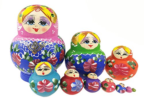 Unigift Cute Beautiful Pink Blue Gold Handmade Wooden Russian Nesting Dolls Matryoshka Dolls Set 5 Pieces for Kids Toy Home Decoration