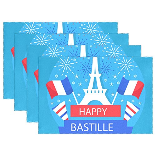 Bastille Place - MAMACOOL Bastille Day 14 July Placemats Heat Resistant Dining Table Mats Non-slip Washable Place Mats set of 6