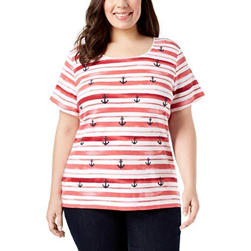 (Karen Scott Womens Plus Anchor Short Sleeves Crewneck Graphic T-Shirt Red 1X)