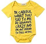 Charm Kingdom Baby Boy Girl be Careful What You say to me My Grandmas Crazy Bodysuit (100 (18-24M), Yellow)