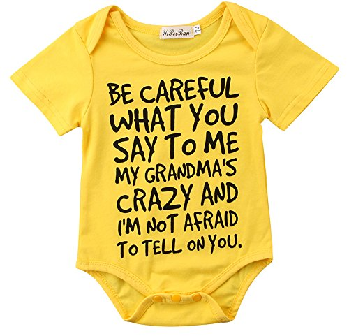 Charm Kingdom Baby Boy Girl be Careful What You say to me My Grandmas Crazy Bodysuit (100 (18-24M), Yellow)