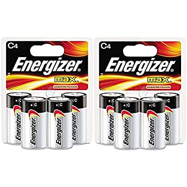 Energizer C Cell Alkaline Battery Retail Pack - 4-Pack (Pack of 2, 8 batteries total)