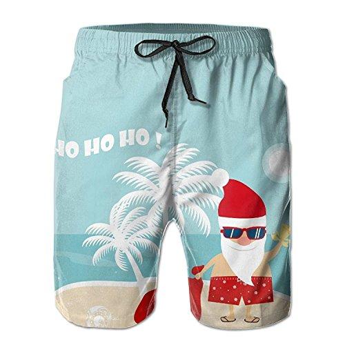 loejrfw Mens Lightweight Quick Dry Beach Shorts Christmas Santa Claus in Beach Swim Trunks