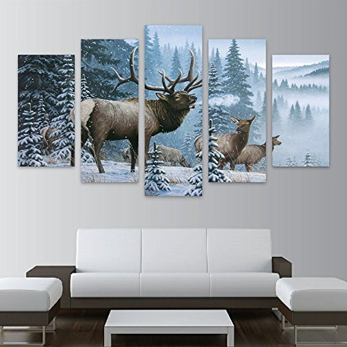 Home Decor Pictures Frame HD Printed Canvas 5 Piece Elk Family In Snow Pine Tree Landscape Painting Fashion Deer Poster Wall Art,30x50 30x70 ()