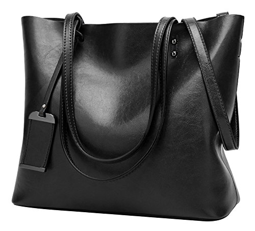 ilishop Oil PU Leather Handbag Vintage Designer Purse Classical Tote Bag Large Capacity Shoulder Bags (Black)