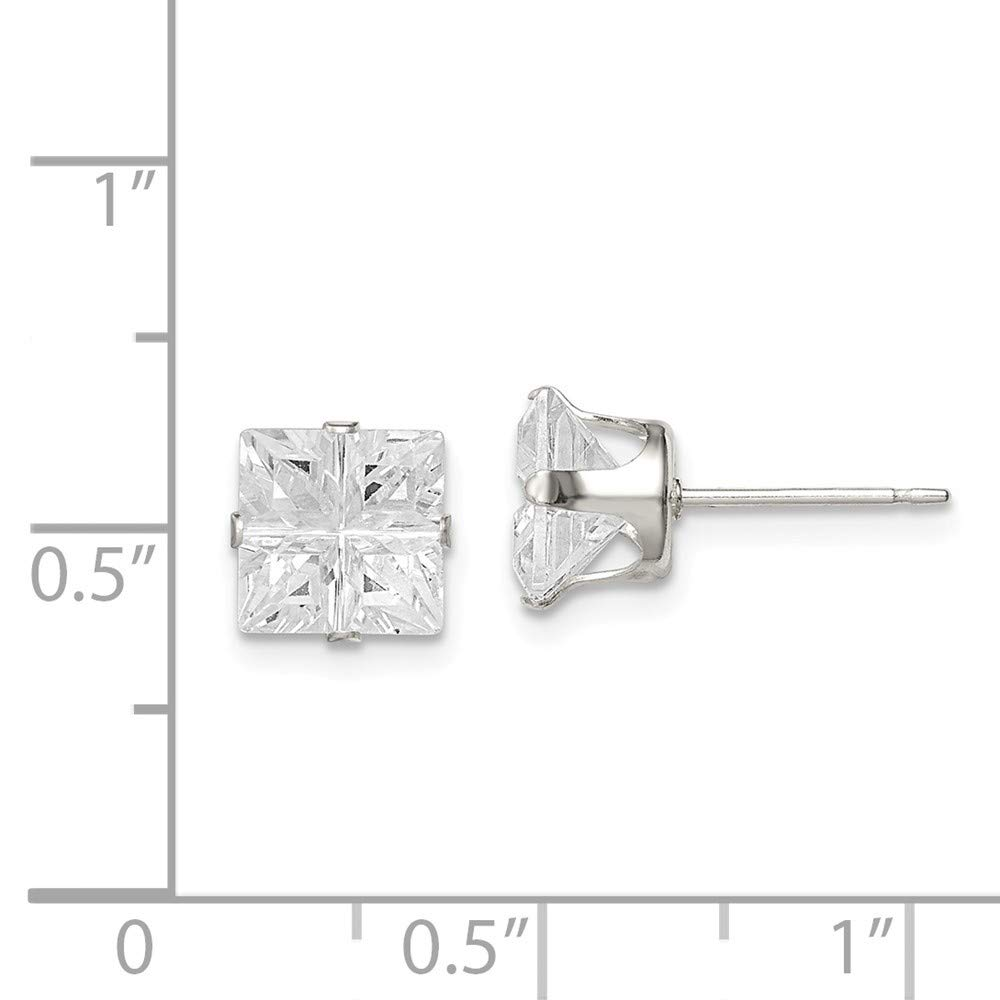 Roy Rose Jewelry Sterling Silver 7mm Square CZ 4 Prong Stud Earrings