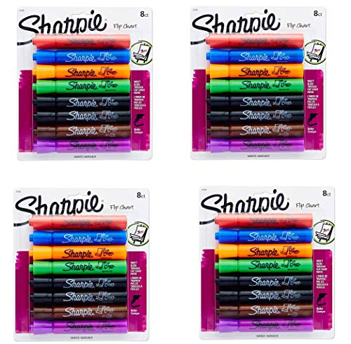 Sharpie 22480PP Flip Chart Markers, Bullet Tip, Assorted Colors, 32 Markers