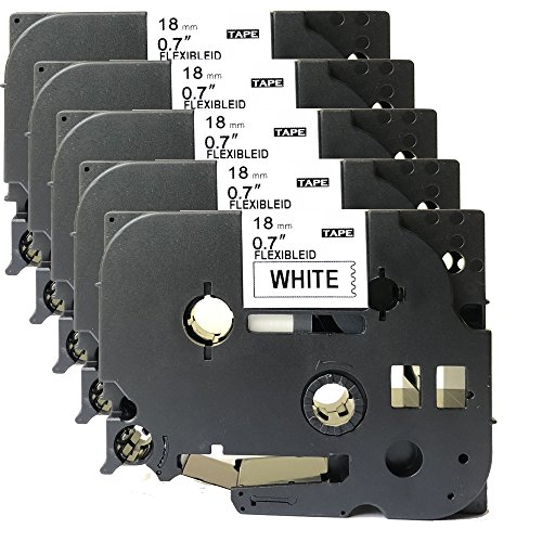 NEOUZA 5PK Compatible For Brother P-Touch Laminated TZe TZ Label Tape Cartridge 18mm x 8m (TZe-Fx241 Flexible ID Wire Cable Black on White)