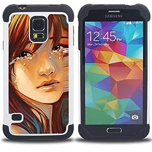 BullDog Case - FOR/Samsung Galaxy S5 I9600 G9009 G9008V / - / Sad Girl /- H??brido Heavy Duty caja del tel??fono protector din??mico - silicona suave