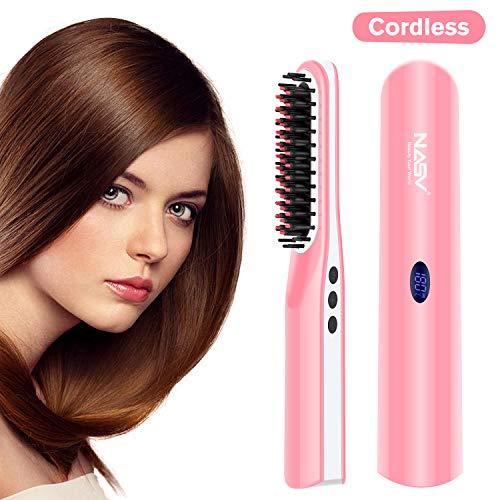 DOMAVER Beard Straightening Brush, Cordless USB Rechargeable Travel Ceramic Brush Hair Straightener for All Hair Types – Pink White