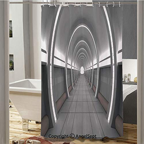 Galactic Place with Oval Shaped Ceiling Force Alien Life Apollo Comics Graphic Plastic Curtain(37