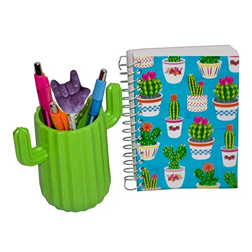 (Office Desk Decor Includes Green Cactus Pens and Holder, Mini Notebook and ASL ILY Sucker)