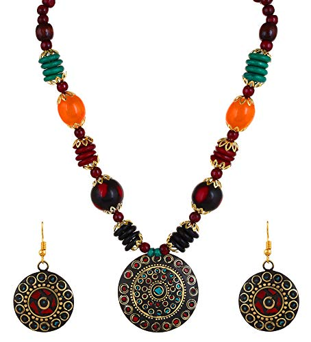 YouBella Jewellery Bollywood Ethnic Tribal Beads Traditional Indian Necklace Set with Earrings for Women