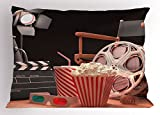 Ambesonne Movie Theater Pillow Sham, Objects of The Film Industry Hollywood Motion Picture Cinematography Concept, Decorative Standard King Size Printed Pillowcase, 36 X 20 inches, Multicolor