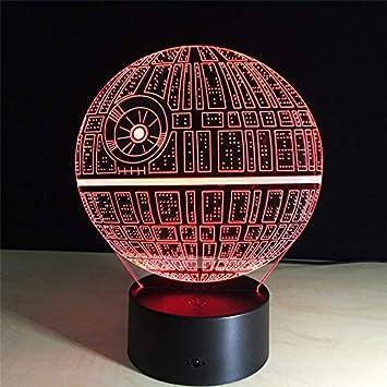 sanzangtang LED Night Light 3D-Vision-Seven Colors-Remote Control-Death Star Night Light Visualización óptica Slide Planet Cambio de Color Interruptor Lámpara de Mesa
