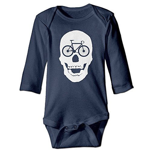 Baby Boy Girls Ride Or Die Skull Bicycle Baby Onesies Navy Long Sleeve