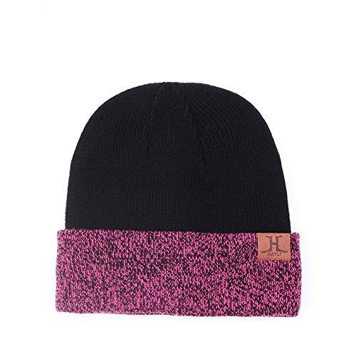 Winter Hat Couple Plus Velvet Thick Knit Hat Autumn Winter Warm Letter Wool Hat Adjustable Rose Red