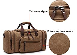 Aidonger Unisex Canvas Travel Bag Duffel Bag Weekend Bag with Strap (Black)
