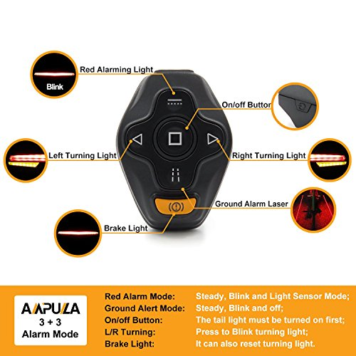 Ampulla Rechargeable Bike Tail Light LED - Remote Control, Turning Lights, Ground Lane Alert, Waterproof, Easy Installation for Cycling Safety Warning Light by Ampulla (Image #4)