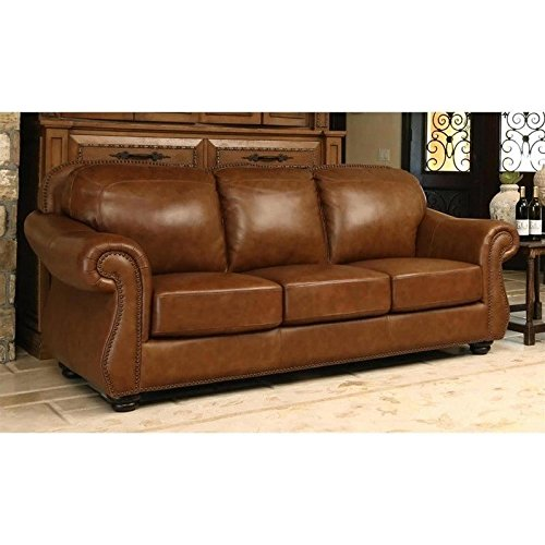 Abbyson Living Erickson SK-28110-CNG-3 86″ Top-Grain Leather Sofa with Nail-Head Trim Padded Rolled Arms and Stitching Details in Camel