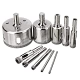 10pcs 6-30mm Diamond Coated Core Saw Drill Bits For Glass Ceramic Hole Marble Drilling Tools