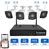 [Newest] Wireless Security Camera System, Firstrend 8CH Wireless Security System with 4pcs 720P IP Security Camera with 65ft Night Vision, P2P Security Camera System Wireless (No Hard Drive)