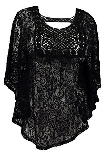eVogues Plus Size Sheer Crochet Floral Lace Poncho Top Black - 2X