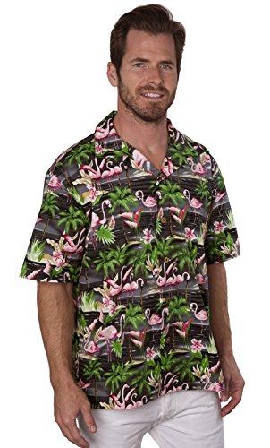 Benny's Mens Flamingos Hawaiian Shirt( M, - Black Benny