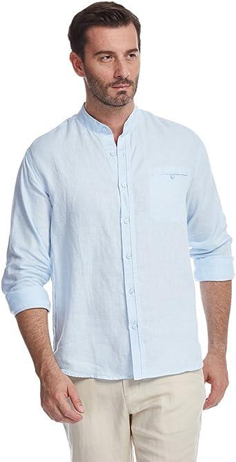 UAISI Camisa de Lino para Hombre Blanca Casual De Verano Manga Larga Slim fit: Amazon.es: Ropa y accesorios