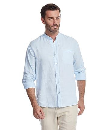 3ec55c1225 UAISI Camisa de Lino para Hombre Blanca Casual De Verano Manga Larga Slim  fit  Amazon.es  Ropa y accesorios