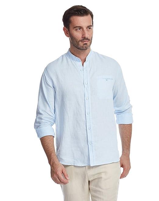 c0ac12945f42 UAISI Camicie di Lino Uomo Estiva Casuale Manica Lunga Camicie Slim Fit:  Amazon.it: Abbigliamento