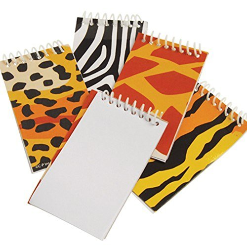 Safari Party Notepad - Assorted Safari Jungle Animal Mini Spiral Bound Notebooks