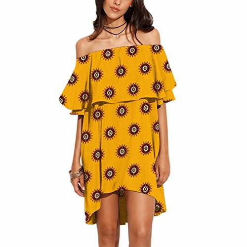 QIYUN.Z Cuello De Slash Mujeres Verano Impreso Falbala Irregular Hems Playa Sin Tirantes Vestido Color 03