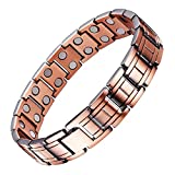 UINSTONE Men's Bracelet made from PURE Copper, elegant MAGNETIC THERAPY Bracelet with DOUBLE row High Strength Neodymium Magnets, helps to relief Joint Pain, Arthritis, RSI, & Carpal Tunnel
