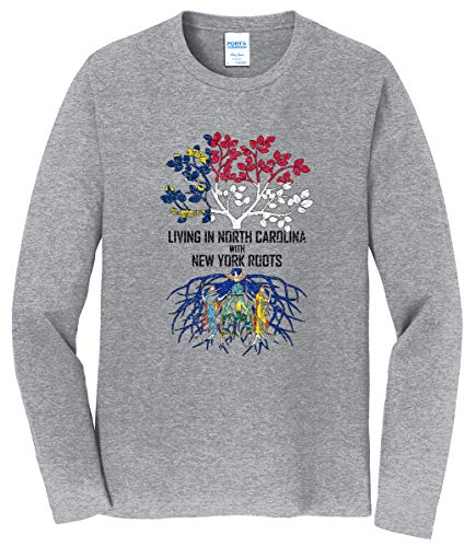 Tenacitee Men's Living in North Carolina with New York Roots Long Sleeve T-Shirt, X-Large, Heather Gray from Tenacitee