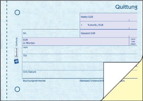 5x Zweckform Quittungsblock 1735 A6 Quittung 2x 40 Blatt AVERY fälschungssicher
