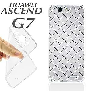 J357 HUAWEI ASCEND G7 GEL CARCASA FUNDA TPU IMITACION ACERO HIERRO GRIS CLARO PL