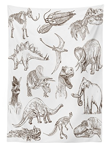 """Ambesonne Jurassic Tablecloth, Arrangement of Various Dinosaurs Illustrations Skeleton Biology Historic, Rectangular Table Cover for Dining Room Kitchen Decor, 60"""" X 90"""", Dark Brown"""