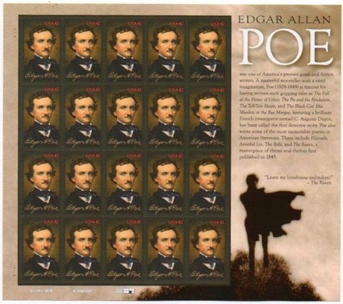2009 EDGAR ALLAN POE ~ POET AUTHOR ~ #4377 Pane of 20 x 42c US Postage Stamps for $<!--$10.25-->