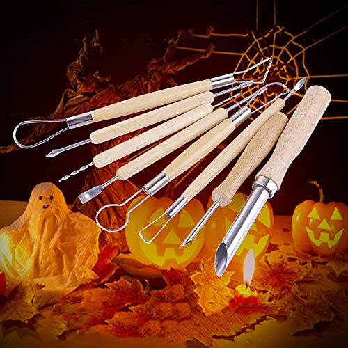 Hot Sale!DEESEE(TM)8PCS Pumpkin Carving Tools- Halloween Sculpting Kit with 6 Double Sided Pieces -