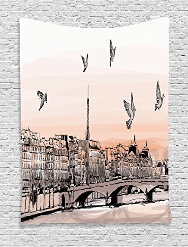 Apartment Decor Tapestry By Ambesonne, Panorama Sketch Art Sunset View Of Paris From