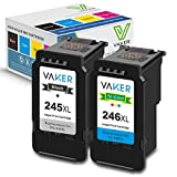 VAKER Remanufactured Ink Cartridge Replacement for Canon PG-245XL CL-246XL PG-243 CL-244 Used in Canon PIXMA MX492 MX490 IP2820 MG2420 MG2522 MG2920 MG2922 MG3022 TS302 TR4520 (1 Black, 1 Tri-Color)