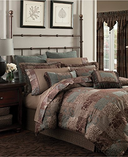 - Croscill Galleria Brown Quilted Paisley Patchwork Duvet Comorter Cover (Queen)