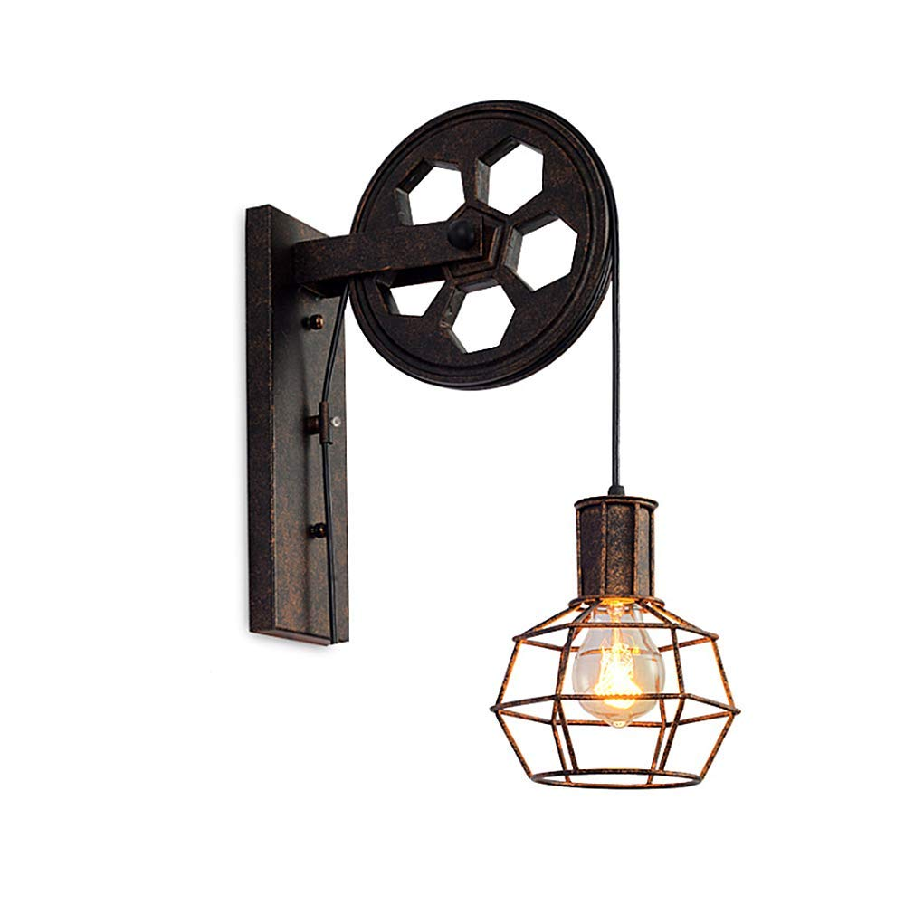 Ladiqi Industrial Wall Sconce Lighting Fixture Retro Pulley Wall Lamp Light Antique Cage Wall Mount Light Indoor Outdoor