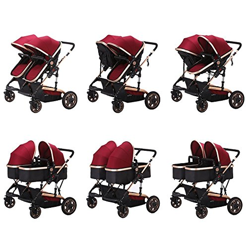 Foldable Double Stroller Baby infant Pushchair Twin Lightweight Stroller Double Baby Pram