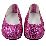 wanshop Glitter Doll Shoes for 18inch American Girl Dolls Party Dress (Hot Pink)
